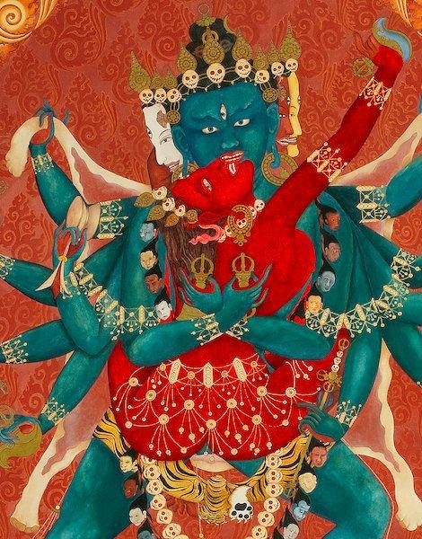 Yab-yum representing the primordial or mystical union of wisdom & compassion