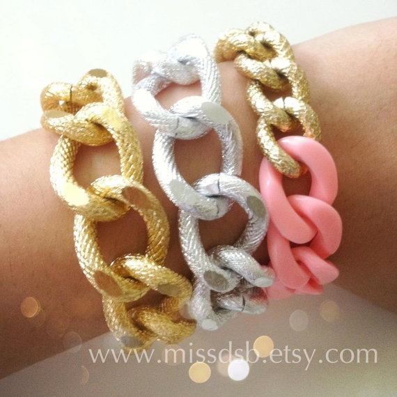 VERY CHUNKY TEXTURED Gold or Silver Chain Bracelet by MissDSB, $30.00
