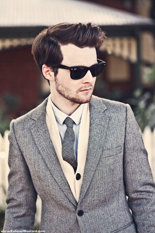 herringbone blazer men style sunglasses ray ban fashion tie