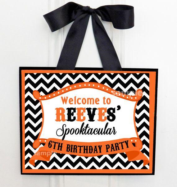 Decorating Ideas > Halloween Party Door Sign Printable  Chevron Dot  ~ 045651_Halloween Door Signs Printable