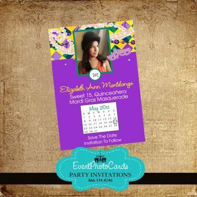 Save The Date Mardi Gras | Mardi Gras Sweet 15 Invitations | Pinterest