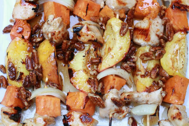 Honey-Glazed Chicken, Sweet Potato and Peach Skewers | WeeklyGreens ...