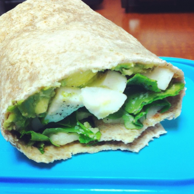 Lunch wrap - hard-boiled eggs, arugula, avocado, havarti, and garlic ...