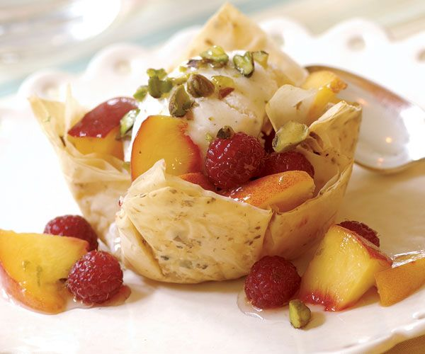 Pistachio Peach Sundaes with Crisp Phyllo Cups | Recipe