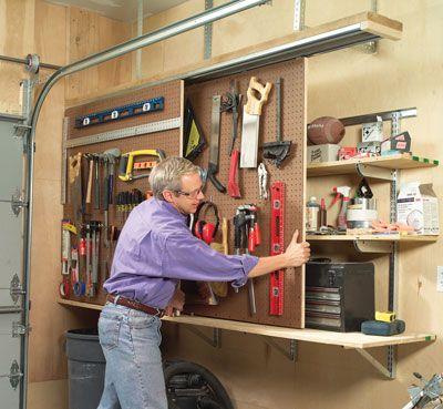 Diy sliding wall organization garage diy pinterest for Diy garage shop