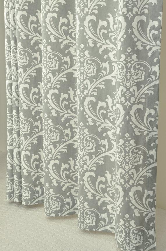 grey white damask shower curtain 72 x 72 by pondlilly on etsy