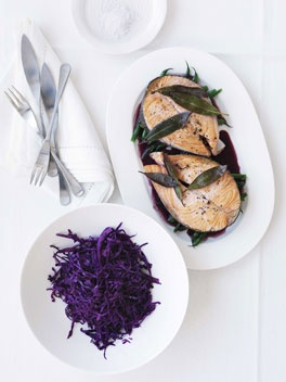 Salmon with warm red cabbage salad and red wine sauce