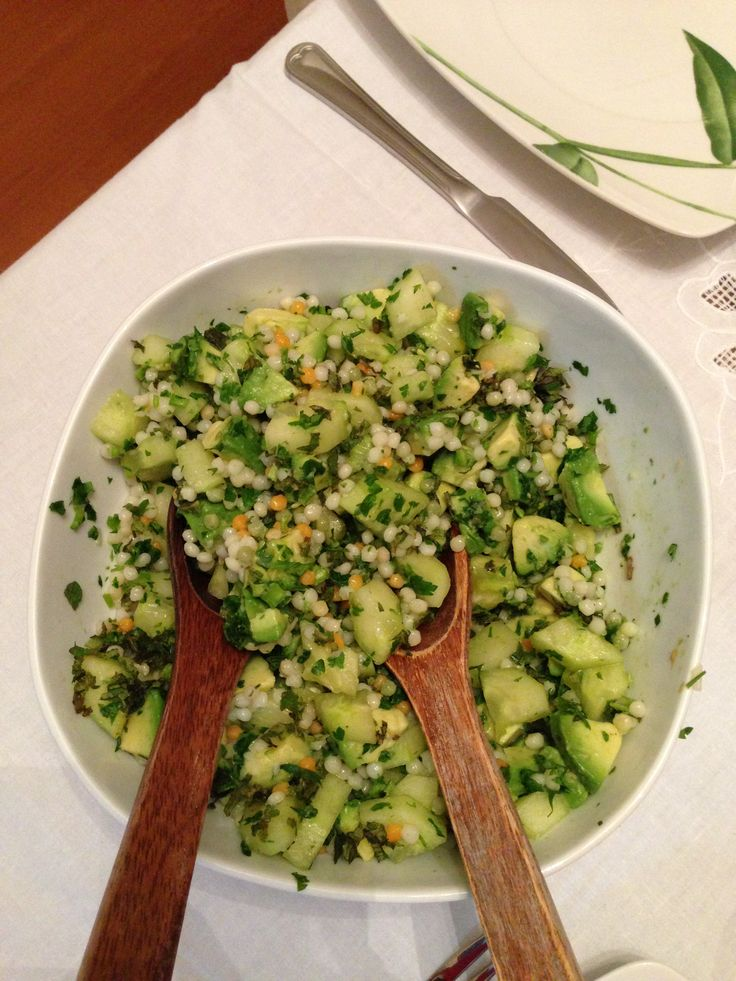 ... menta / cucumber, avocado, israeli couscous, parsley and mint salad
