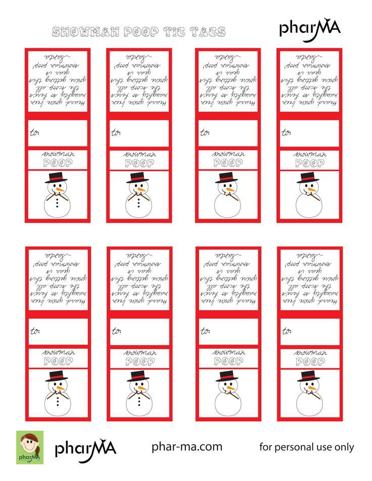 Snowman Poop (Free Printable) | Bag Toppers | Pinterest