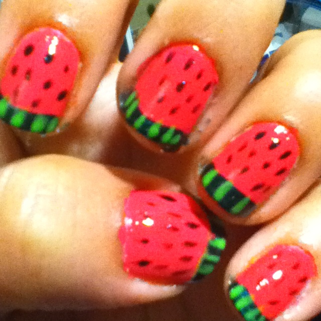 Watermelon nail art | My Style | Pinterest