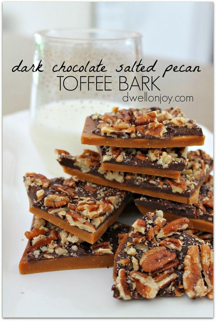 dark chocolate salted pecan toffee bark   Dwell on Joy