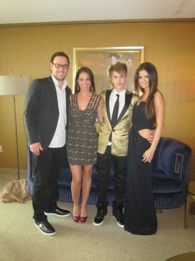 Scooter Braun, Carin Morris, Justin Bieber and Selena Gomez. ll # ...
