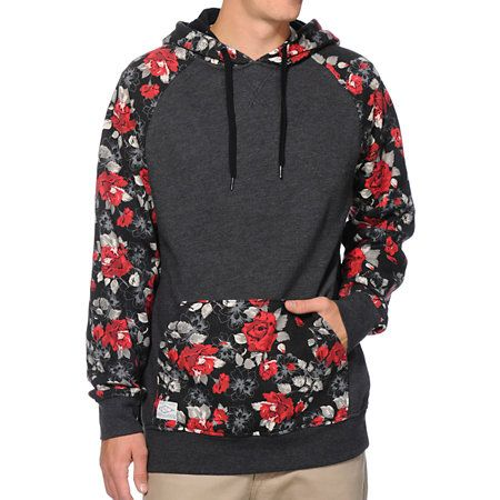 The Empyre Panama charcoal floral raglan pullover hoodie   STREET WEAR