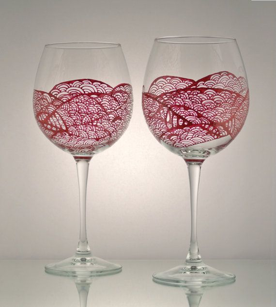 Unique Set Of 2 Hand Painted Wine Glasses With A Freehand