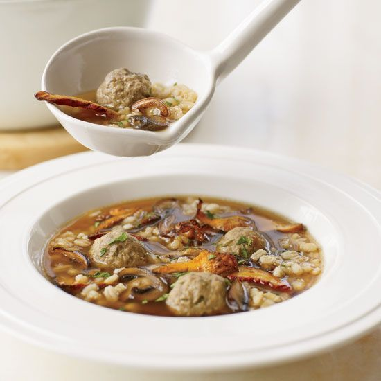Mushroom Barley Soup with Mini Meatballs | Grace Parisi replaces long ...