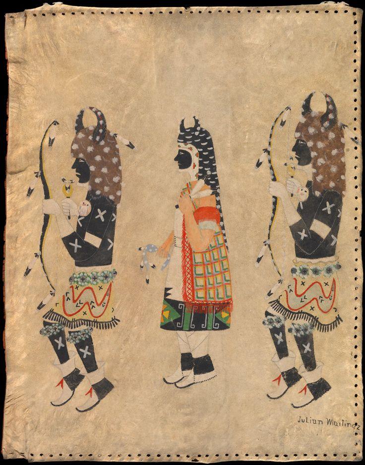 Julian Martinez (San Ildefonso Pueblo, 1884–1943), Buffalo Dancers  ca. 1930s  San Ildefonso Pueblo, Santa Fe County, New Mexico  Hide, paint  79 x 61 cm  Henry Craig Fleming Collection  22/8644