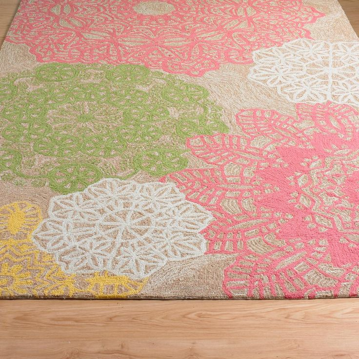 Indoor Outdoor Crochet Doily Rug Aqua Or Pink Available In