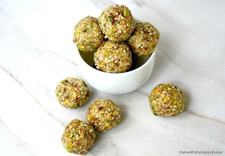 sesame seed balls almond butter pistachios sesame seeds medjool dates ...