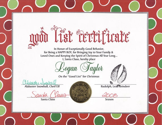 Santas Nice List Certificate Template | Search Results | Calendar 2015