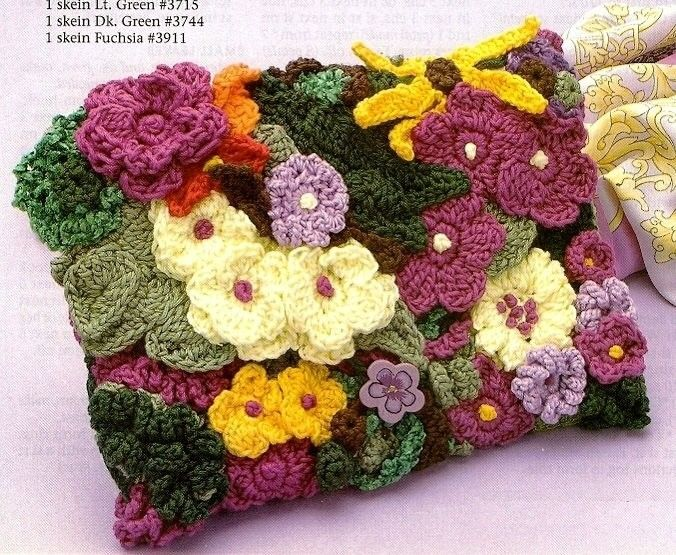 X877 Crochet PATTERN ONLY Bright Floral Clutch Purse Handbag. $3.95 ...