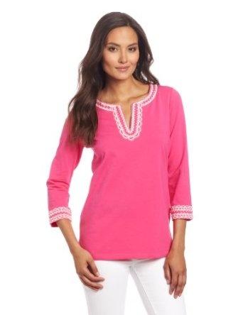 Jones New York Women s 3/4 Sleeve Split Neck Pink Tunic with