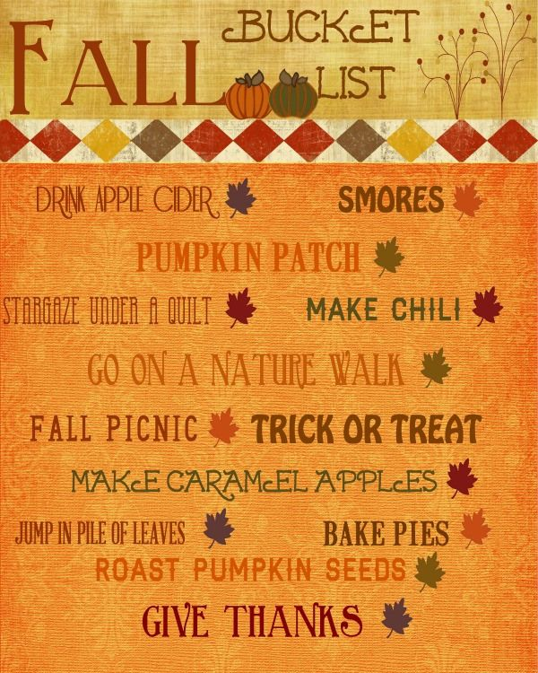 Fall Bucket List Printable http://www.lifewiththecrustcutoff.com/fall-bucket-list/