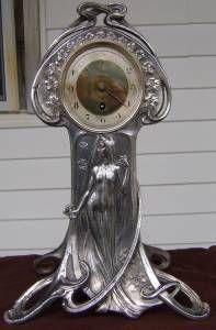 Antique Fabulous Claude Bonnefond Art Nouveau Mantel Clock Not Running