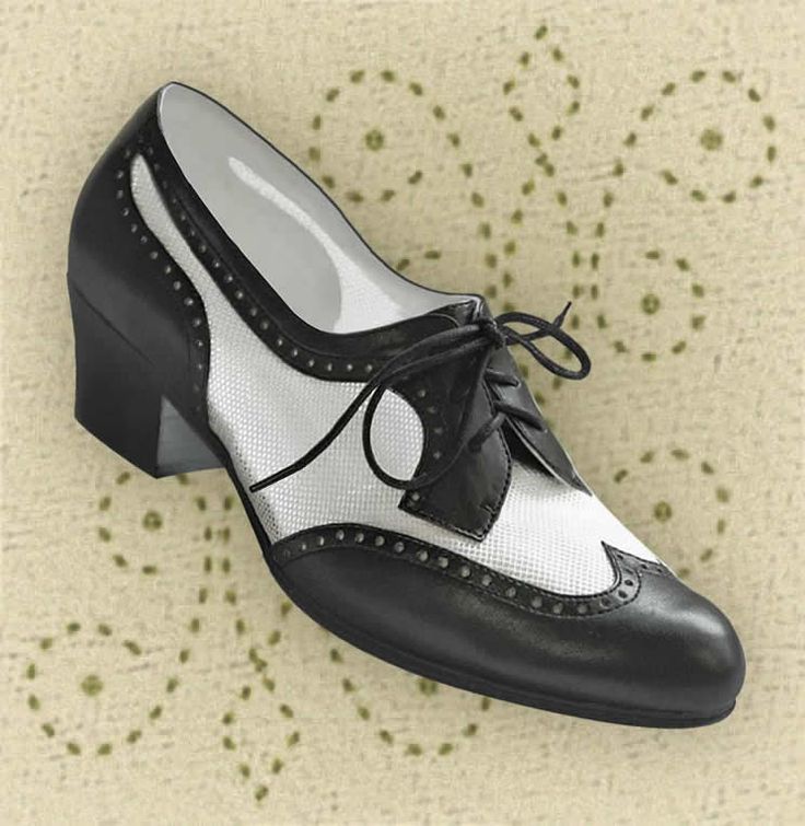 Aris Allen Black White 1950s Wingtip Mesh Oxford Dance Shoes