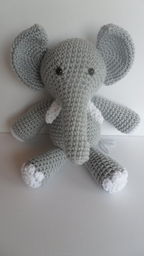 Crochet Elephant : CUSTOM Crochet Elephant Amigurumi Toy Stuffed Animal Doll - You pick ...