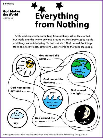 Creation Worksheet | Bible Stories | Pinterest