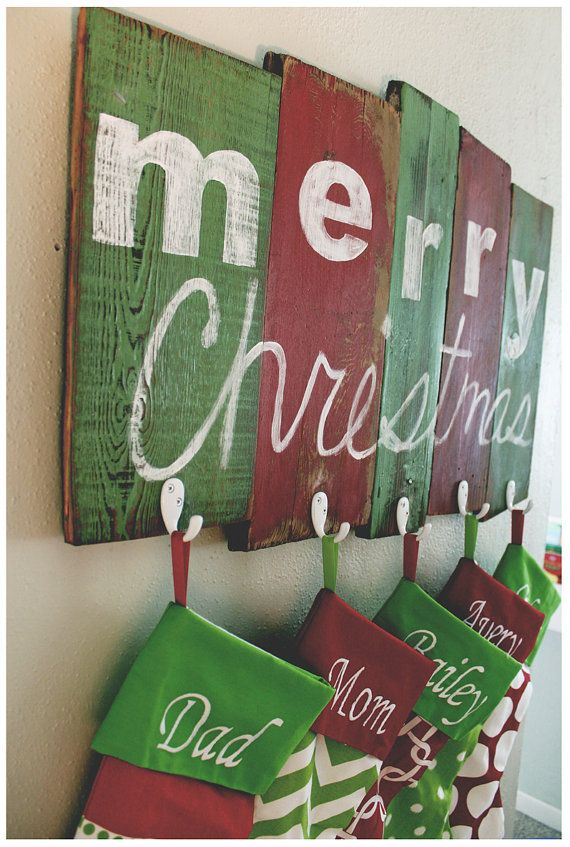 Rustic Holiday Stocking Holder On Barn Wood With By