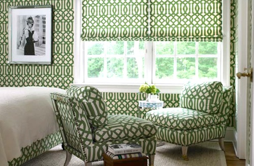 #trellis #wallpaper #upholstery #green Designed by Lynne Scalo.