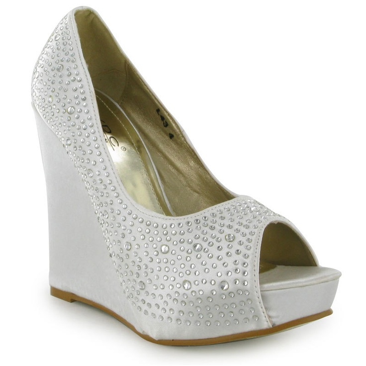 new womens wedge high heel diamante peeptoe
