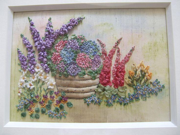 Silk ribbon embroidery flower basket pinterest