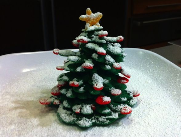 ... Snack: Christmas Tree Pancakes use squeeze bottle for pancake batter