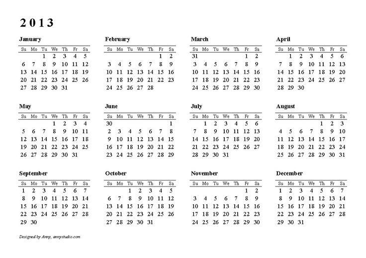 Vertical Monthly Calendar 2013 Template | Calendar | Pinterest