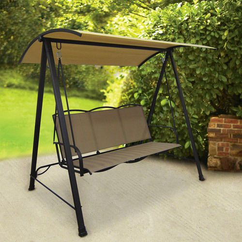 Outdoor Tan Patio Sling Swing Canopy 3 Person Garden Deck