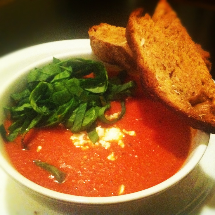 Spicy Tomato and Feta Bisque w/ Spinach & Homemade Garlic Sourdough