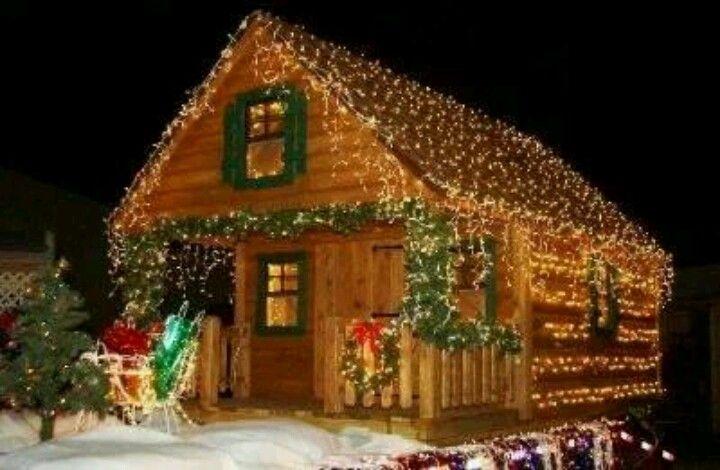 Christmas cabin christmas lights for Country cabin christmas