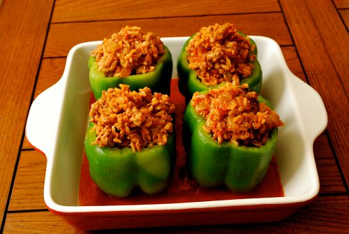 Stuffed Bell Pepper. I can remember helping my mom make these. Not the ...