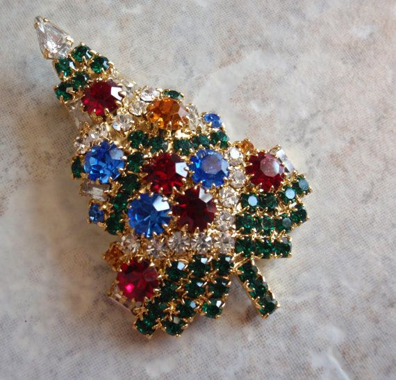 Christmas tree pin brooch eisenberg ice vintage by cutterstone 65 00