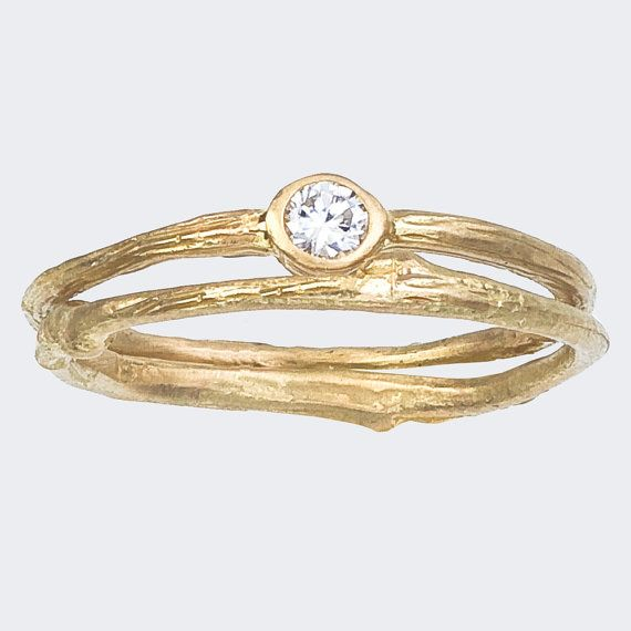 simple engagement ring and matching band set bezel