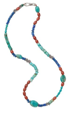 Single-Strand Necklace with Lapis Lazuli, Red Jasper and Turquoise Gemstone Beads - Fire Mountain Gems and Beads