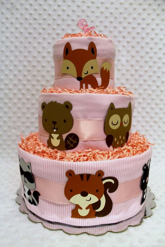 baby diaper cakes pink woodland animals forest creatures baby shower