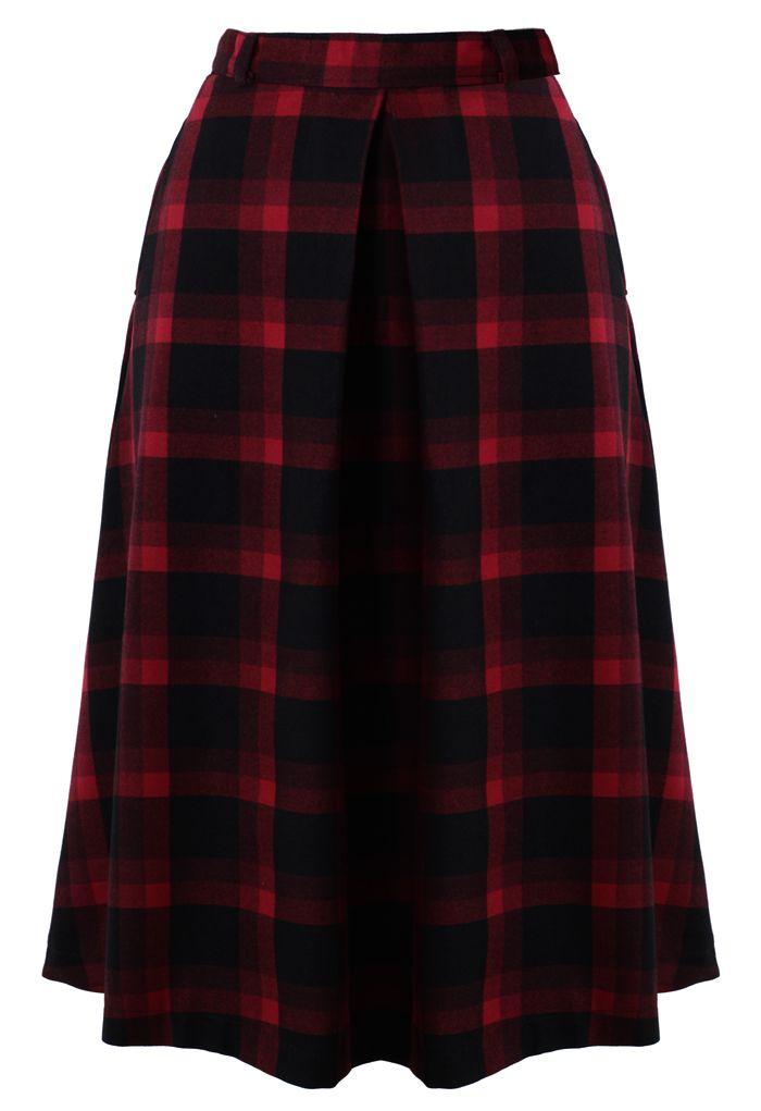 plaid check midi skirt bottoms look book