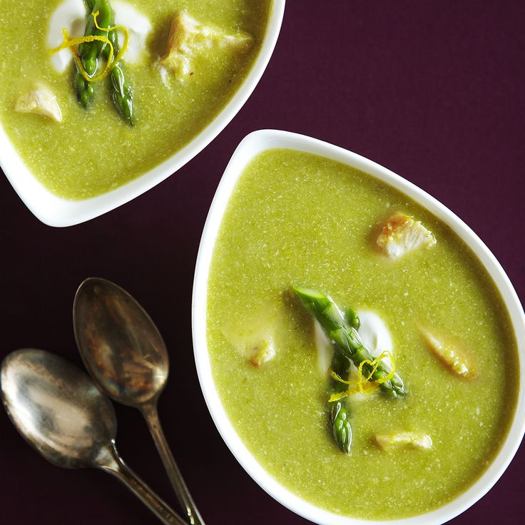 Asparagus & Chicken Soup with Asiago Cheese and Lemon | Recipe