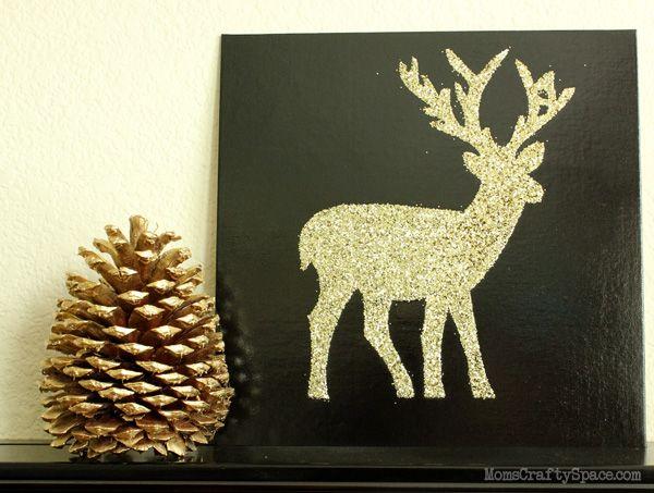 Glitter Deer Silhouette Canvas