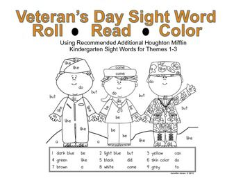 Veterans Day Kindergarten Sight Word Roll And Color