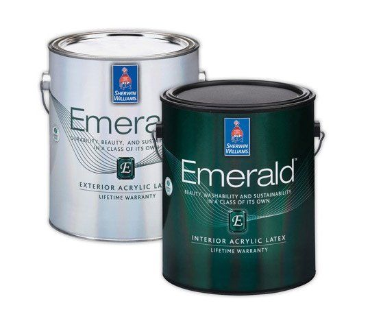 Emerald interior acrylic latex paint from sherwin williams for Latex paint in bathroom