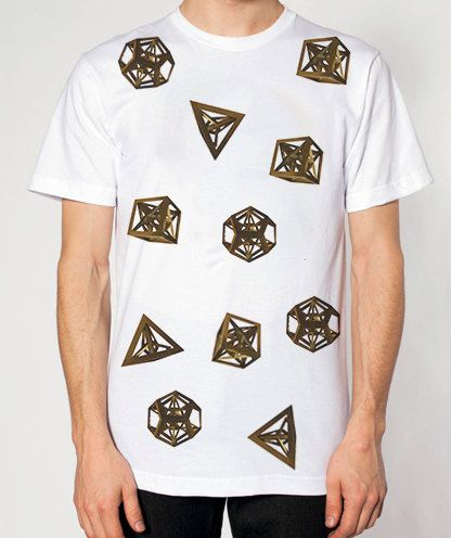 Platonic Solids Tshirt Geometry Math Urban Art by RICOandAURORA    163 20    Platonic Solids Art